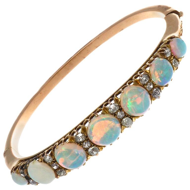 Victorian Opal Diamond Gold Bangle Bracelet For Sale
