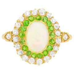 Victorian Opal, Green Garnet and Diamond Double Halo Ring, circa 1890s