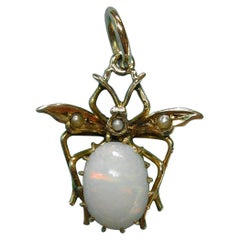 Victorian Opal Pearl Fly Bug Insect Pendant Gold