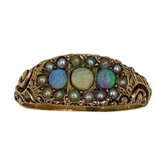 Victorian Opal Pearl Ring Gold Antique Wedding Engagement Stacking Ring