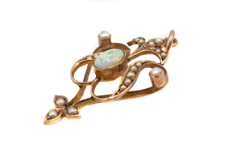 Women's or Men's Victorian Opal Seed Pearl Gold Pendant For Sale