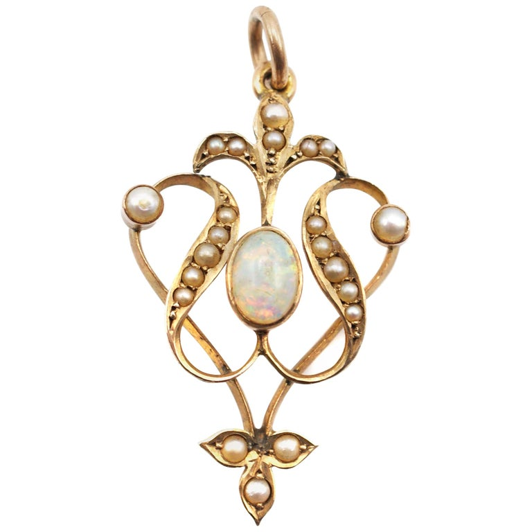 Victorian Opal Seed Pearl Gold Pendant For Sale