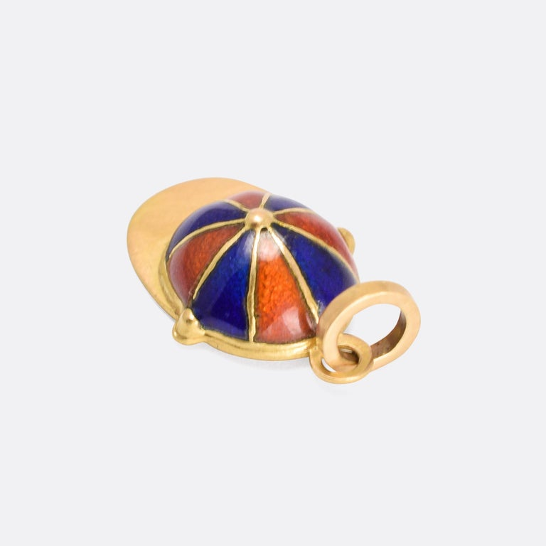 Victorian Orange and Blue Enamel Jockey's Cap Pendant In Good Condition For Sale In Sale, Cheshire