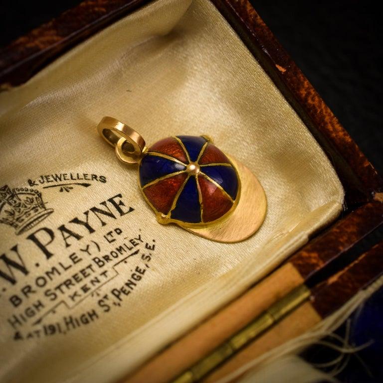 Victorian Orange and Blue Enamel Jockey's Cap Pendant For Sale 1