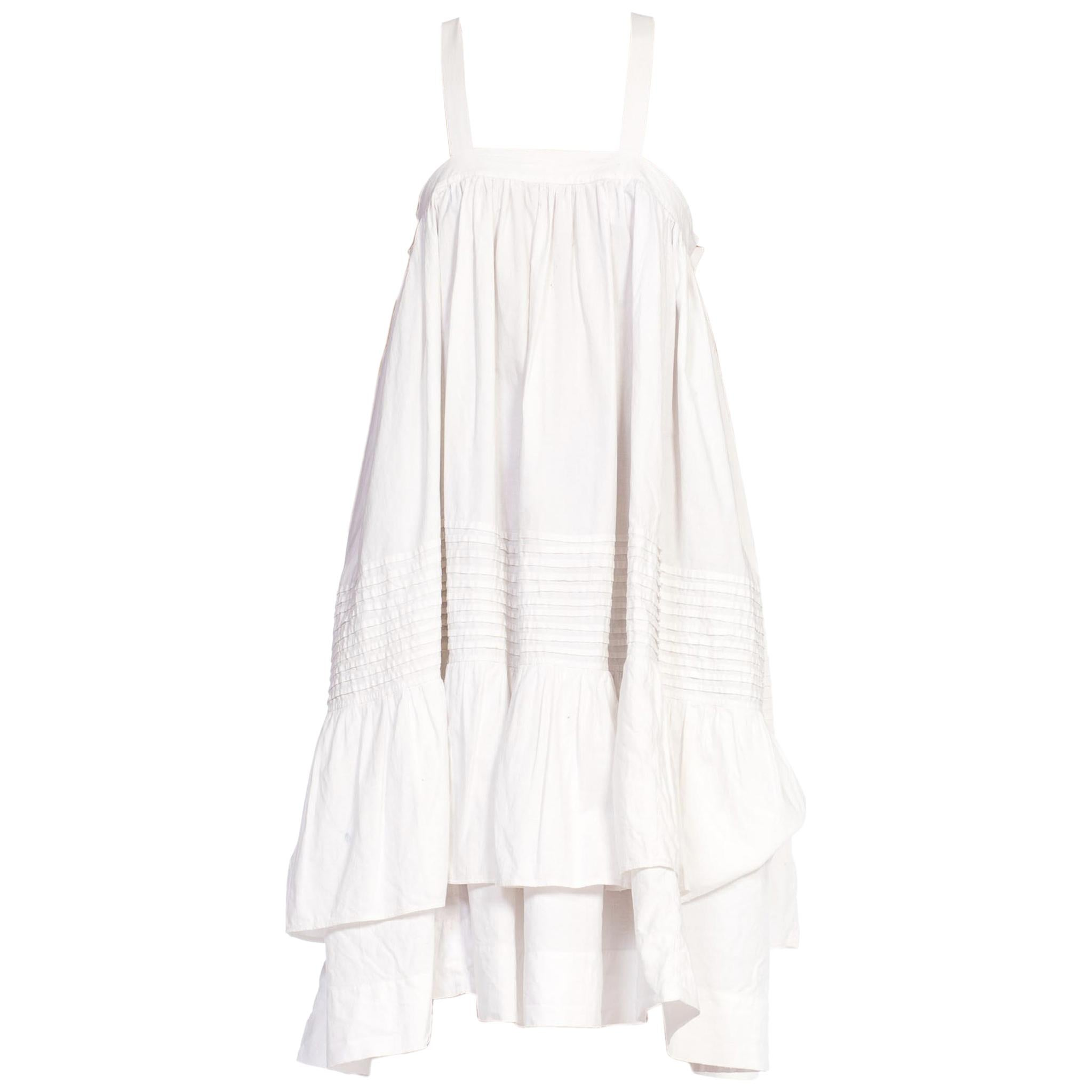 MORPHEW COLLECTION White Organic Cotton Tunic Dress Made From A Victorian Skirt