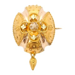 Victorian 14 Karat Yellow Gold Pearl Brooch