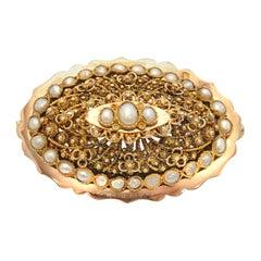 Victorian 18 Karat Gold Filigree Pearl Brooch