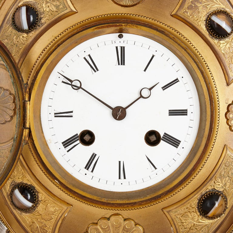 English Victorian Ormolu and Silvered Bronze Mantel Clock For Sale