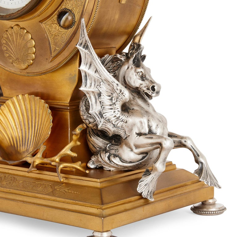 Gilt Victorian Ormolu and Silvered Bronze Mantel Clock For Sale