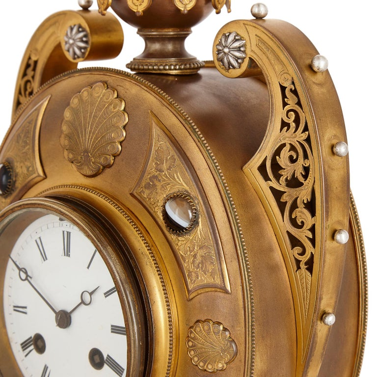 Victorian Ormolu and Silvered Bronze Mantel Clock In Good Condition For Sale In London, GB