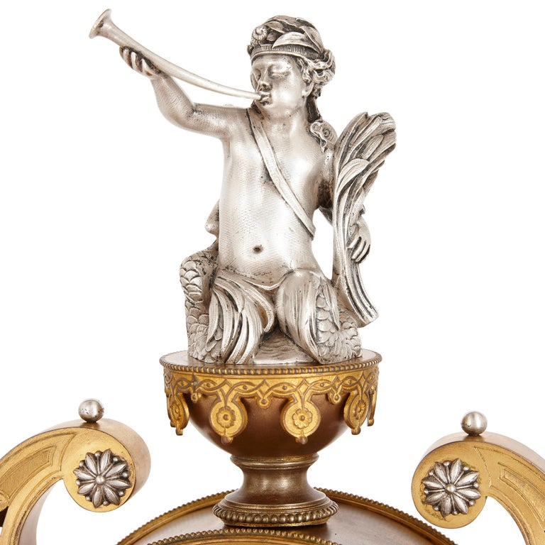 19th Century Victorian Ormolu and Silvered Bronze Mantel Clock For Sale