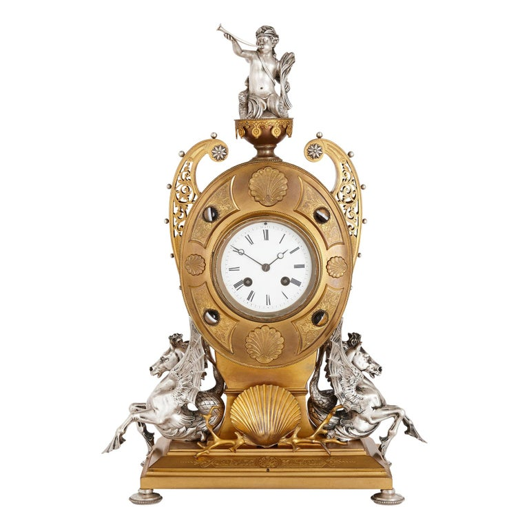 Victorian Ormolu and Silvered Bronze Mantel Clock For Sale