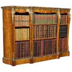 Victorian Ormolu-Mounted Walnut Breakfront Open Bookcase
