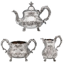 Victorian Ornate Sterling Silver Three-Piece Tea Set by Barnards London, 1855