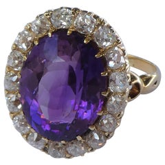 Victorian Oval Amethyst Old Mine Cut Diamond 18 Karat Gold Ring