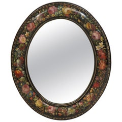 Victorian Oval Black and Polychrome Mirror