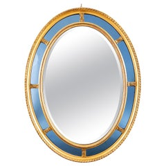 Victorian Oval Blue Glass and Giltwood Border Wall Mirror