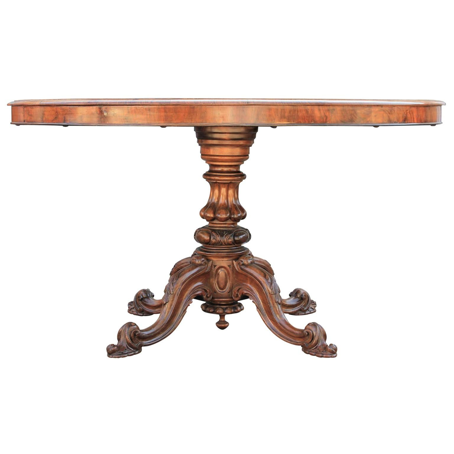 Victorian Oval Walnut and Satinwood Inlaid and Hand-Carved Oval Tilt-Top Table