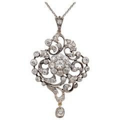 Victorian Over 4.0 Carat Old Mine Diamond Rare Glittering Pendant