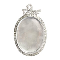 Victorian Oversized Paste Stone Silver Locket