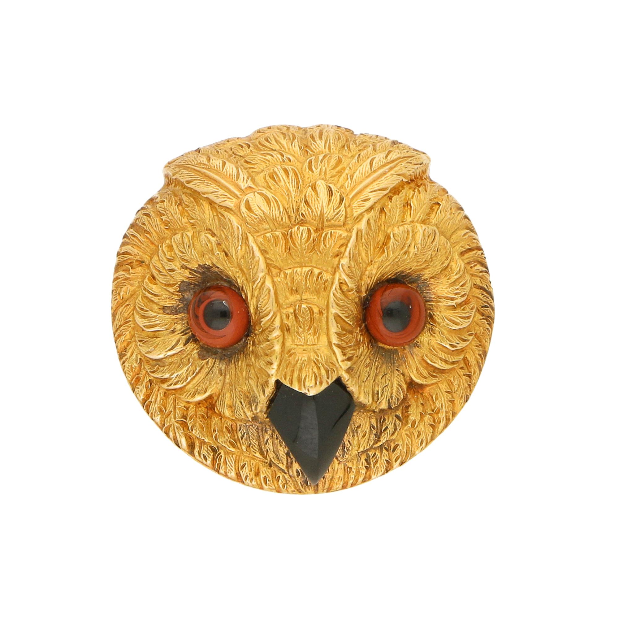 Victorian Owl Head Brooch in 9k Yellow Gold, circa 1880