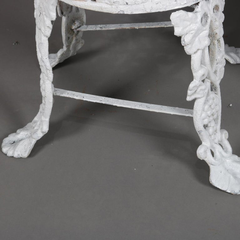 Victorian Painted Cast Iron Grape & Leaf Garden Bench Seat & Table, 20th Century For Sale 6