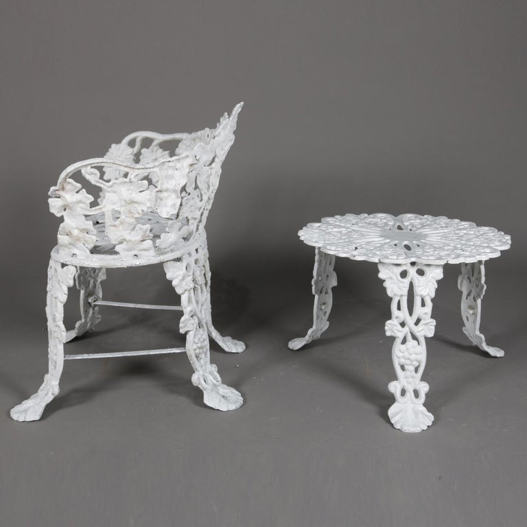 Victorian Painted Cast Iron Grape & Leaf Garden Bench Seat & Table, 20th Century For Sale 8