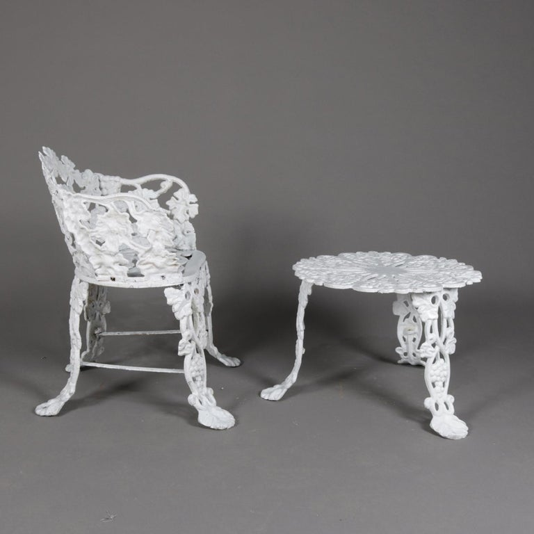 American Victorian Painted Cast Iron Grape & Leaf Garden Bench Seat & Table, 20th Century For Sale