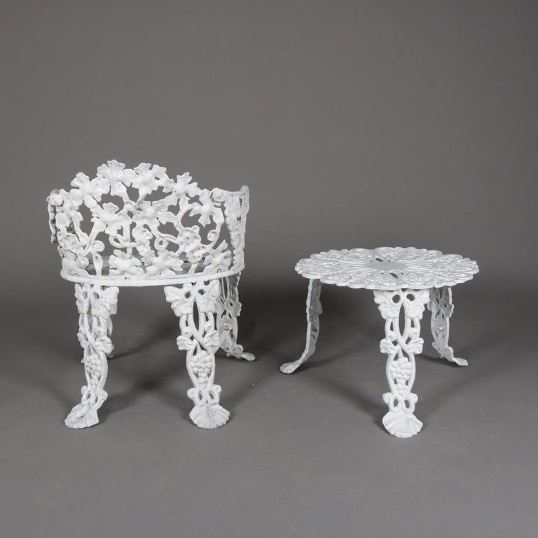 Victorian Painted Cast Iron Grape & Leaf Garden Bench Seat & Table, 20th Century In Good Condition For Sale In Big Flats, NY
