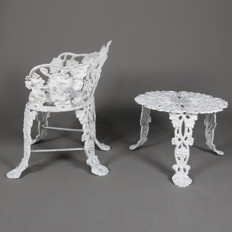 Victorian Painted Cast Iron Grape & Leaf Garden Bench Seat & Table, 20th Century For Sale 2