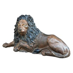 Victorian Painted Cast Iron Reclining Lion
