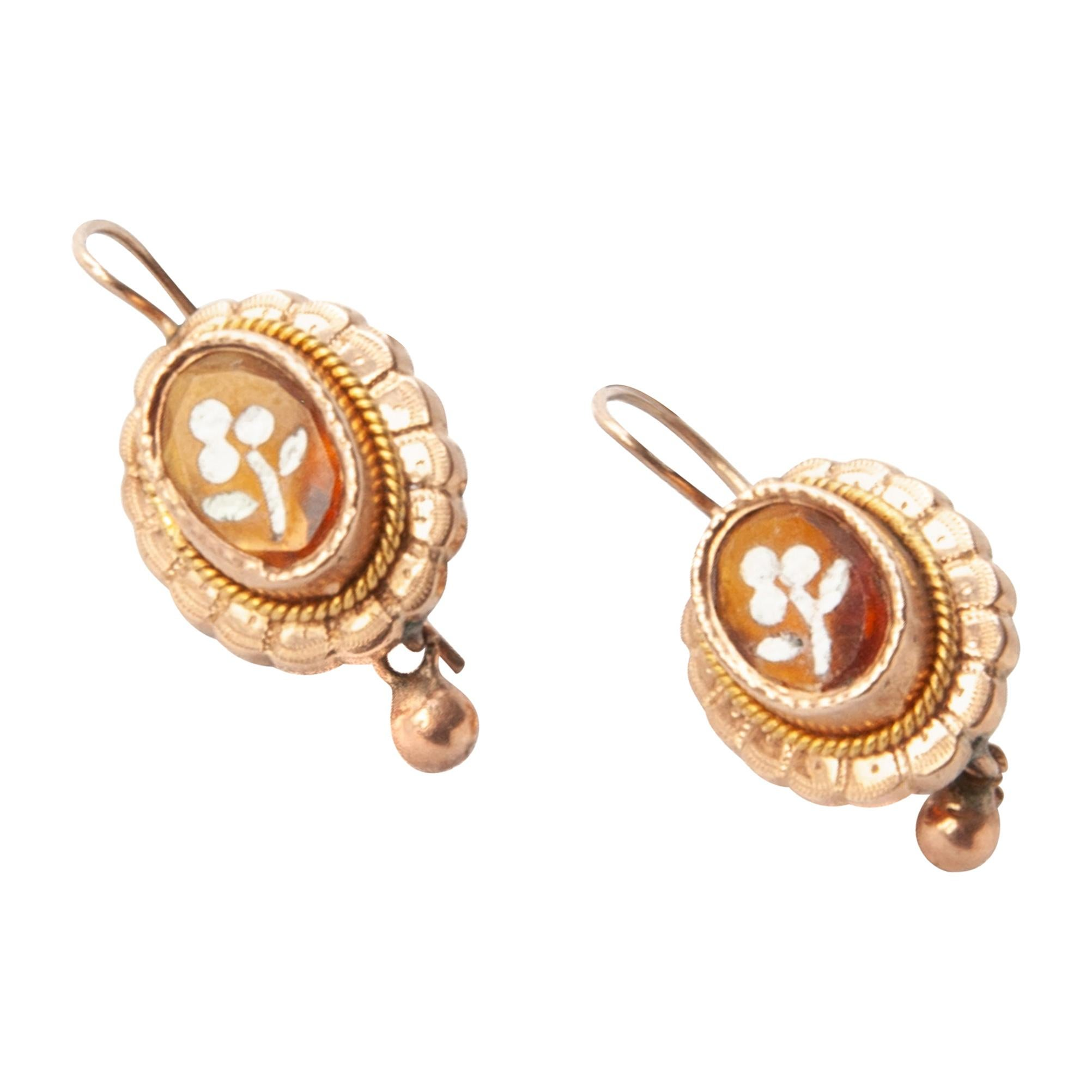 Victorian 14 Karat Gold Citrine Drop Earrings