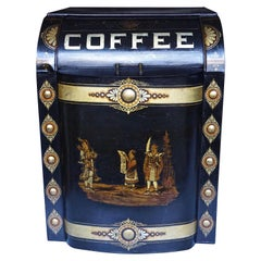 Victorian Painted Metal Storage Tin Marked Coffee