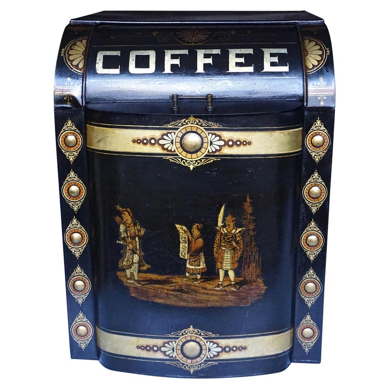 Victorian Painted Metal Storage Tin Marked Coffee For Sale