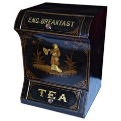 Victorian Painted Metal Storage Tin Marked Tea