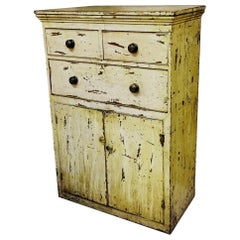 Victorian Painted Pine Kitchen Cupboard with its Original Distressed Paint