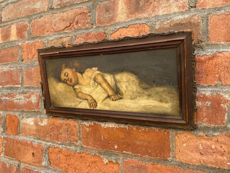 Victorian Painting of a Sleeping Child In Fair Condition For Sale In Garnerville, NY