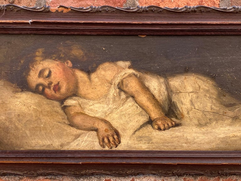 19th Century Victorian Painting of a Sleeping Child For Sale