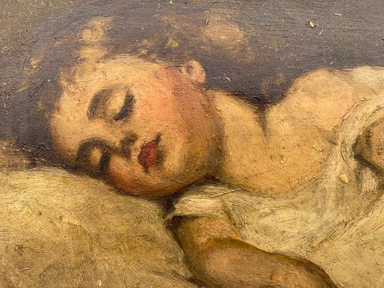 Victorian Painting of a Sleeping Child For Sale 1