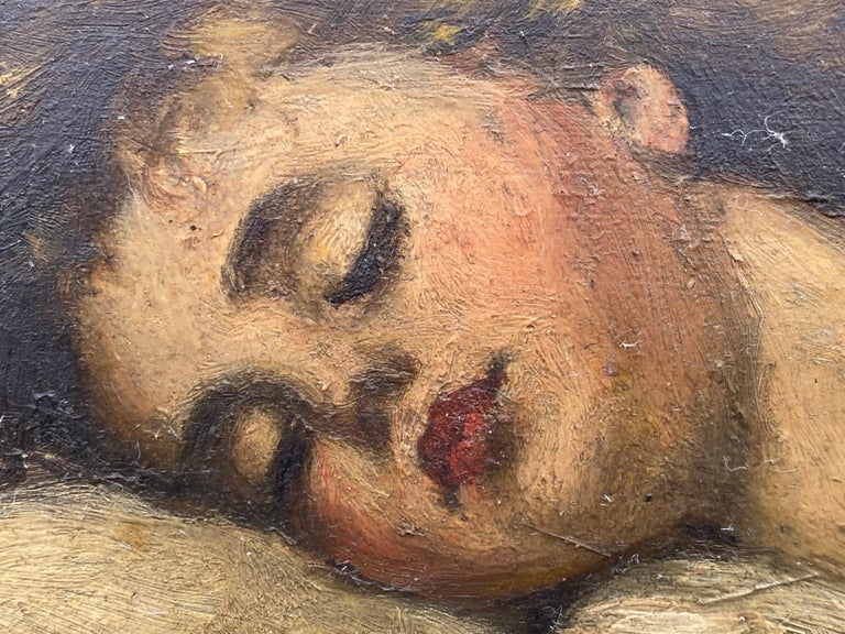 Victorian Painting of a Sleeping Child For Sale 2