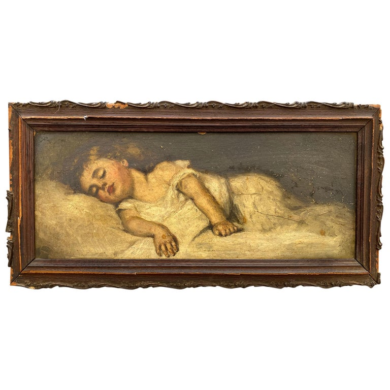 Victorian Painting of a Sleeping Child For Sale