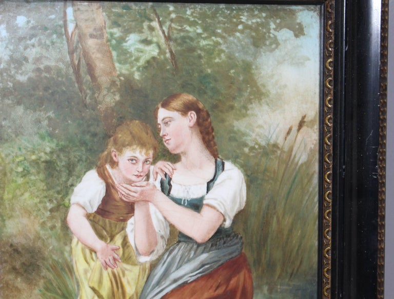 Period:  Victorian  Medium:  Oil on porcelain  Size:  32.5 x 40.5 cm / 12 3/4 x 16 inches  Signed:  S.E.Waites bottom left  Frame: Mounted in original ebonized frame with gilt moulding  Condition:  Good condition. Some minor