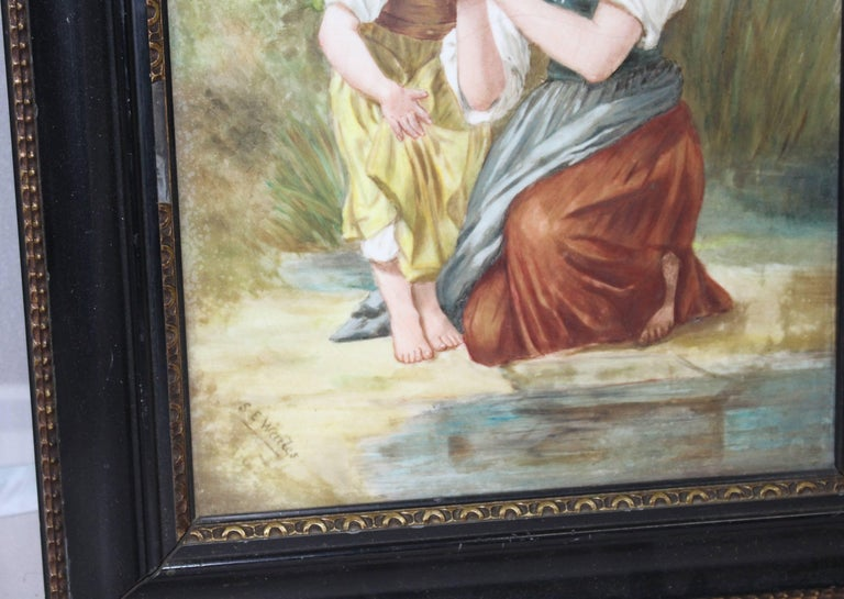 Victorian Painting on Porcelain Set in Ebonized Gilt Frame In Good Condition For Sale In Worcester, Worcestershire