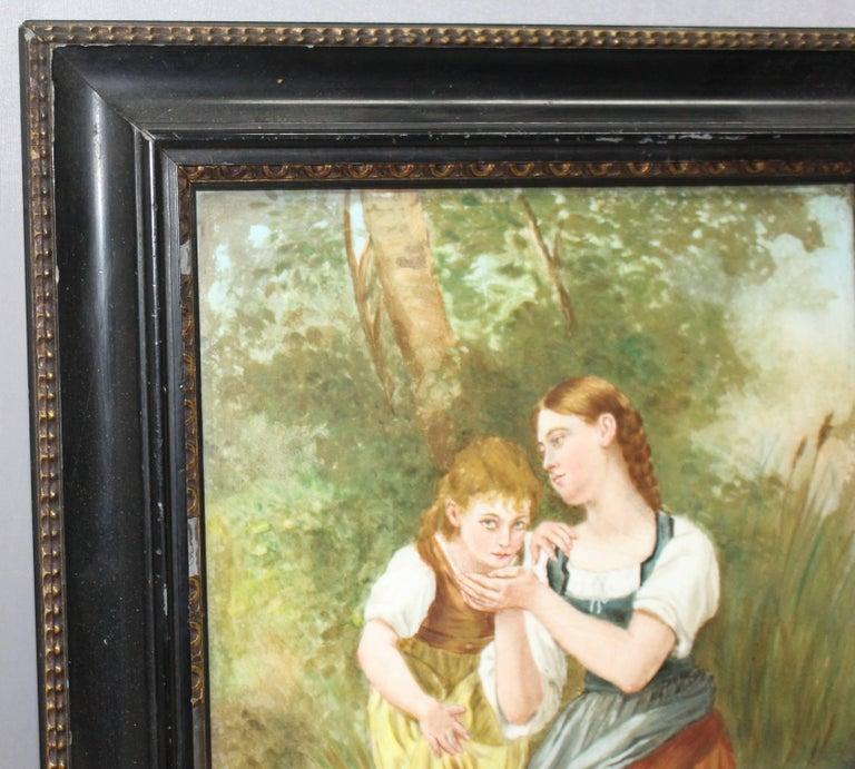 Victorian Painting on Porcelain Set in Ebonized Gilt Frame For Sale 2