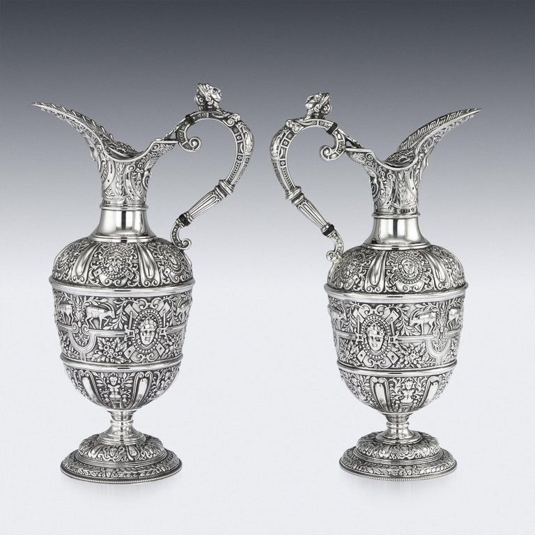 Antique 19th century Victorian solid silver pair of matched