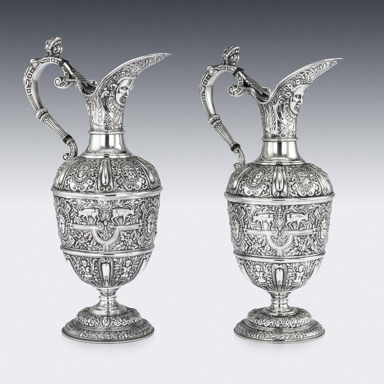 English Victorian Pair of Solid Silver Cellini Ewer Jugs, Sheffield, circa 1890 For Sale