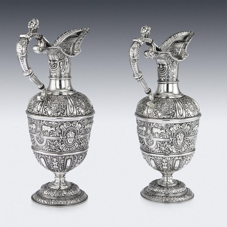 Victorian Pair of Solid Silver Cellini Ewer Jugs, Sheffield, circa 1890 In Good Condition For Sale In London, London