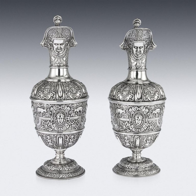 19th Century Victorian Pair of Solid Silver Cellini Ewer Jugs, Sheffield, circa 1890 For Sale