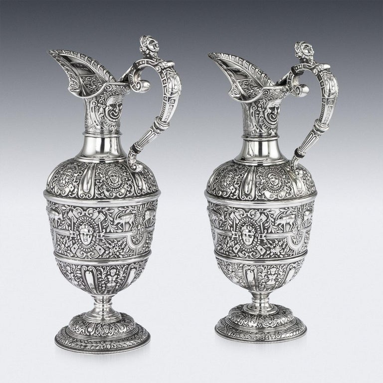 Sterling Silver Victorian Pair of Solid Silver Cellini Ewer Jugs, Sheffield, circa 1890 For Sale