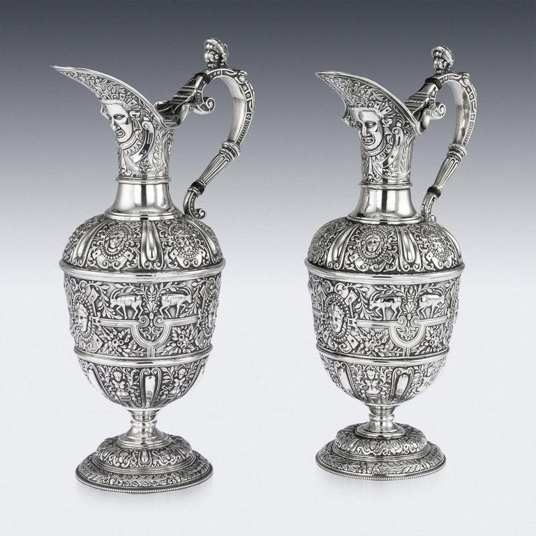 Victorian Pair of Solid Silver Cellini Ewer Jugs, Sheffield, circa 1890 For Sale 2